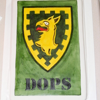 Brigade Crest I made this brigade crest for a function at my husband's work. It is a 12x18 WASC covered in MMF and hand painted.