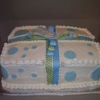 Mcclellan Baby Shower Cake   BABY SHOWER GIFT CAKE...BUTTER CREAM ICING, FONDANT POLKA DOTS & RIBBON/BOW/TAG DECOR.