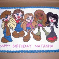 Bratz Themed Cake I made this cake for a coworker of my husband for their daughter's 8th birthday. They left it on the dining room table and their dog...