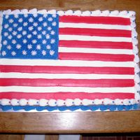 American Flag Cake   I made this cake for my husband's 4th of July office party (he works for the Air Force.) It is all buttercream.