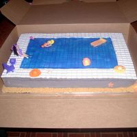 "Poly Pocket Swimming Pool Cake  I made this cake for my friend's daughter. The ""tile"" around the pool was made with chiclets. After having to pick all of..."