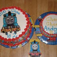 "Thomas The Train 10"" cake with my first chocolate transfer. Smash cake is a 6"" one layer cake."