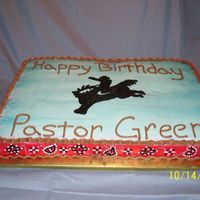 Cowboy Birthday Cake All buttercream cake. Top and sides were airbrushed and then piped on designs.