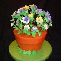 Flower Pot Cake Made this cake for my Mother's Birthday. Flowers are gumpaste. Flower pot is WASC cake frosted with buttercream. Thanks to all on CC...