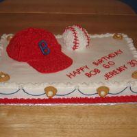 Birthday Cake - Baseball Cap & Ball  1/2 sheet cake. chocolate cake covered with chocolate glaze, then covered with buttercream icing. baseball cap & ball - yellow cake...