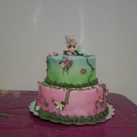 Tink Strikes Again Made for a dear friend's precious daughter. Buttercream with fondant flowers and airbrushed coloring. Also has disco dust that doesn&#...