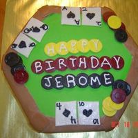Poker Table Cake for a friends husband 40th birthday. 15 in 2 layer Hexagon Top Van bottom Chocolate, butter cream icing with MMF decorations