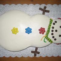 Snowman Birthday Theme This was made for a 6 year old girl who wanted a snowman birthday party. She requested butter cream frosting with candy decorations.