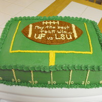 Uf Vs Lsu Football Cake 9x13 chocolate 2-layer cake frosted with buttercream frosting. Made for a friend who is having a football party during the UF vs LSU game....