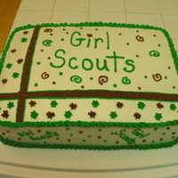Girl Scout Rededication Ceremony Cake This is a 9x13 cake decorated with buttercream. It was made for our service unit's Girl Scout Leaders Rededication Ceremony. I used a...