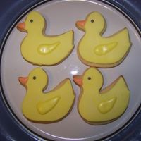 Ducks Sugar cookies covered with MMF and finished off with royal icing.