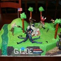G. I. Joe I made this for my son's 7th birthday. 12X18 sheet carved out the ramp, stream, and hole. BC icing. Used his G.I. Joe toys as decor....