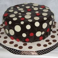 Chocolate Polka Dots First time using chocolate ganache. It didn't turn out as well as I had hoped!