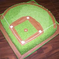 Baseball Diamond Baseball diamond for my nephew's 8th birthday. All buttercream. For some reason the picture makes it look like it has some grass that...