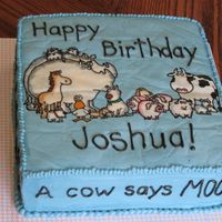 Moo, Baa, La La La Moo, Baa, La La La by Sandra Boynton is my son's favorite book, so I made him this cake for his 2nd birthday. It is a FBCT....