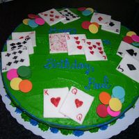 The Card Table blackjack table with fondant cards and chocoate disk chips