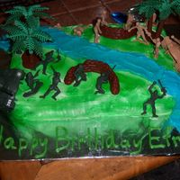 Efrain's Birthday I made this cake for my son's 7th birthday. He really likes army stuff. The inside was camo colors.