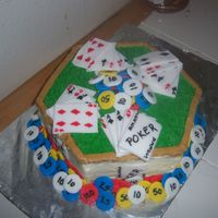 Poker Cake For My Husband I made this cake for my husband's birthday. The cards and chips are fondant and the rest is butter cream. The cake is plain yellow. He...