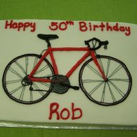 Bike Cake for a biker who races (like in the tour) Buttercream drawing