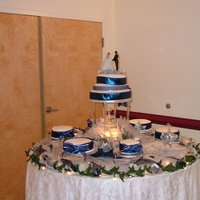 My First Wedding My first wedding for 300 hundred people. Lemon Cake with Butter Cream Icing.The Blue and Silver Flowers was the Color of the Bridesmaids...