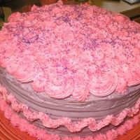 Pink Cake This cake is for my Mother's Birthday! She loves frosting. I was trying to get as much frosting on the cake without making it look...