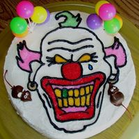 Evil Clown My little brother wanted an Evil Clown Cake for his 16th Birthday..So this is the result. I used DH French vanilla cake mix and buttercream...