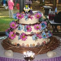 Medieval Wedding Cake All Buttercream frosting with Marble cake... for a Medival Theme Wedding. The flowers are daisies, with sticks and chocolate rocks. Thanks...