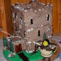 Shrek's Castle This is the groom's cake at a Medival wedding.. All buttercream with chocolate rock accents and plastic trees. Thanks for looking