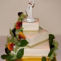 Fall Wedding Cake Fall Wedding cake with Buttercream Icing, Cala Lilies, and a gold ribbon accent Thanks for looking!!!