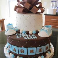 "Parker's Baby Shower 10"" dark chocolate fudge with cheesecake mousse filling, 6"" lemon zest cake with lemon mousse filling. Iced in homemade..."