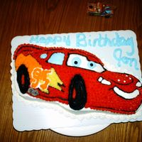 Lightning Mcqueen This is my son's birthday cake. He is so easy, always chooses a simple cake, although I didn't do very well on this, did I? But...