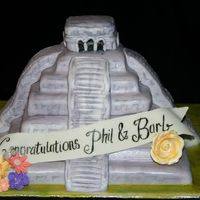 Chichen Itza I made this cake for my brother & fiances engagement party. he proposed to her at the chichen itza in mexico. 2 tier cake with gumpaste...