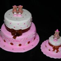 1 St Birthday Teddy Bears birthdya cake for a clients little girl with a smash cake for the little one.