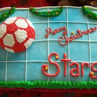 Soccer Christmas Party This was from my daughter's soccer Christmas party. It's a white cake with buttercream. I saw this cake and loved the idea of the...