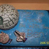 Star Wars Birthday This was done for a friend's son for his 7th birthday. It's a quarter sheet cake covered with buttercream. The Death Star is from...