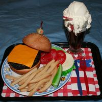 Burger, Fries And Root Beer Float  This was my entry for the 2006 Cakes on Parade Contest sponsored by the San Diego Cake Club. The whole event proceeds went to MDA. The...