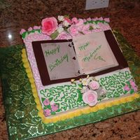Frilly Teacher Birthday Cake  Wedge shaped white cake with apple filling iced in BC. Notebook made of fondant with tylose and notebook paper is rice paper. I kicked the...