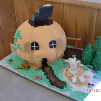 "Little Pumpkin School House  A ""back to school"" cake done for a homeschool group, this was in October hince the pumpkin. Cake covered and figures modeled with..."
