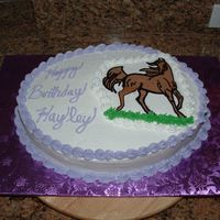 Birthday Horse Cake  My first BC transfer. I had to perform surgery on it too! I have such a week grip so I used a 4 tip to outline and the black outline bled,...