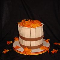 Harvest Basket 8 in pumpkin spice with cream cheese filling. Covered in MMF, silk leaves. Thanks to Merissa for her inspiration and help. TFL!