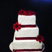 Burgundy 6,8,10 square, buttercream, satin ribbon and silk flowers