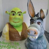 Shrek And Donkey Heads were made from rice cereal and modeling choc/fondant, bodies were cake! This one was fun to watch come to life!