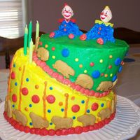 Circus Birthday Cake My sister and I made this for our little sister's fifth birthday today. This is our first topsy turvy cake and I think it's so...