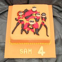 The Incredibles   All made of fondant. I was really pleased with this one.