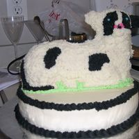 Cow Cake  This was done on a 12in base yellow cake with the cow made using the 3D lamb pan and the same yellow cake used for the base cake. I used...