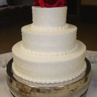 Miller Wedding   6,10 and 14 cakes in buttercream frosting with diamond pattern. TFL!