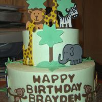 Jungle Theme Cake   6 and 9 inch cake with buttercream frosting with gumpaste animals. TFL!