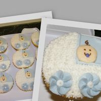 Pram Cupcakes For Baby Boy I made these cupcakes for a co-worker's baby shower. She was having a baby boy so I chose a baby blue color. The cupcakes are yellow...