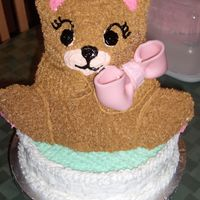 Stand Up Teddy Bear I made this for a baby shower. I added a fondant bow to match molded chocolate teddy bear boxes.