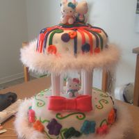 Hello Kitty Cake Made a two tier for daughters 2nd birthday. My second cake. Two tiers, each with 3 layers of cake. Fondant covered, fondant bow, stripes...